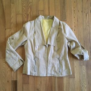 Vintage 90s Erin London Tan Linen Blazer